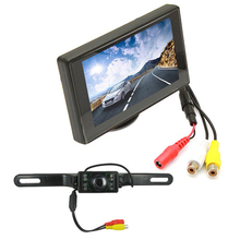 CAR HORIZON LCD 2 Video 4.3 Inch  Input Car Rearview Monitor +420TVL Night Vision CMOS Rear view Camera Kit for Security Parking