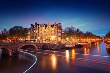 City Night Bridge Canal Lights River Boats Trees Scenery Landscape Fabric Silk Poster Print Home Decoration B0114-3