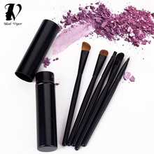 Ideal Vigor 5 PCS Professional Cosmetic Eye Shadow Brushes with Cylinder Case Portable Toiletry Eyeshadow Brush Set MB017