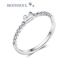 MOONSOUL Swan Ring Jewelry  white  Micro CZ Paved Women Cross Rings R10004