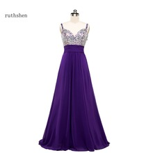 ruthshen Long Bridesmaid Dresses Cheap 2017 Spaghetti Rhinestones Beaded Bling Bling Purple Chiffon Wedding Guest Dress(China)