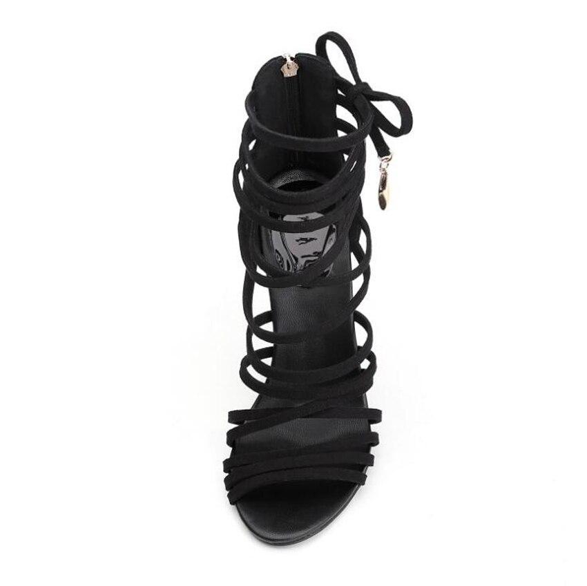 Stylesowner black suede narrow band women sandals shoes cross tied 11cm stilettos heels sexy ladies pumps nightclub sandals shoe