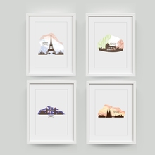 Watercolor City Landmark Building Art Prints Wall Pictures , Italy London Spain Paris City Skyline Canvas Painting Poster