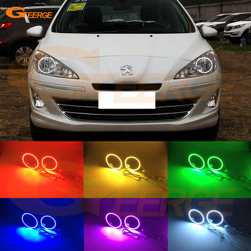 For Peugeot 408 2010 2011 2012 2013 Halogen headlight Excellent Multi-Color Ultra bright RGB LED Angel Eyes kit<br>