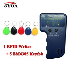 Handheld 125KHz EM4100 RFID Copier Writer Duplicator Programmer Reader + 5 Pcs EM4305 T5577 Rewritable ID Keyfobs Tags Card(China)