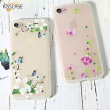 KISSCASE For iPhone 6 6S Luminous Case Flowers Bling Diamond Case For iPhone 7 7 Plus Soft TPU Glow In Dark Glitter Phone Cover(China)