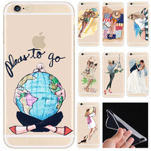 2016 Luxury Fashion Travel Girl Design Case For iPhone 6 6s 5 5s se 7 Plus Transparent Silicone Protective Phone Cover Coque