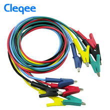 Cleqee P1024 Double-ended Clips Cable Alligator Testing Probe Lead Wire 100CM 5 colours 15A