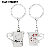 XIAOJINGLING Keychain Cup Pendant Key Chain Fashion 'Cheers For love' Key Ring Couple Jewelry For Women Lovers Valentine's Gift