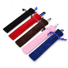5 Pcs Velvet Pen Pouch Holder Single Pencil Bag Pen Case With Rope For Rollerball /Fountain/Ballpoint Pen