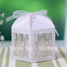 Free Shipping Laser Cut Paper Favor Boxes Gift Box Chocolate Boxes With Ribbon 100pcs