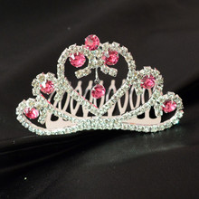 Girls' Lovely Princess Pink Crystal Girls Hair Clear Tiara Crown Small Hair Combs Girls' Hair Jewelry