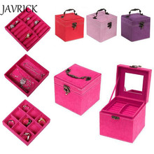 JAVRICK 4 Colors Fashion Vintage Style Three-tier Jewelry Box Multideck Storage Cases ZB380