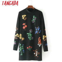 Tangada Women Cute Floral Mini Dress Long Sleeve Female Retro Fashion Autumn Winter Flower Dress Turtleneck Black Vestidos BE12(China)