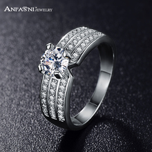 ANFASNI 2017 Top Finger Ring Gold /Rose Golden Color 3 Row With AAA Cubic Zircon Wide Ring Fashion Jewelry Wholesale CRI0012(China)