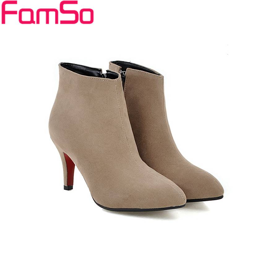 Size 34-43 2017 New Retro Style Spring Autumn Riding Boots Black Pointed Toe office Pumps Designer Ladies Ankle Boots SBT4152<br><br>Aliexpress