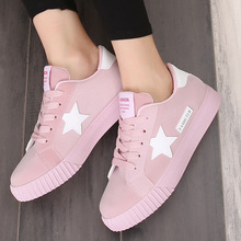 2017 New Casual Women Shoes Stars Fashion Patchwork Ladies Canvas Shoes Female Platform Trainers Basket Femme Chaussure