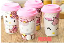 2014 Fashion Mug High Quality Hello Kitty Cup\Ceramic Mug\Coffee Mugs WithPpink Silicon Lid Glitter Travel Mug