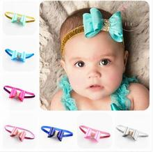 New Elastic PVC Bowknot Hairband for Baby Infant Toddler kids Headbands Children Hairbands Accessories Shiny Headband For Girls(China)