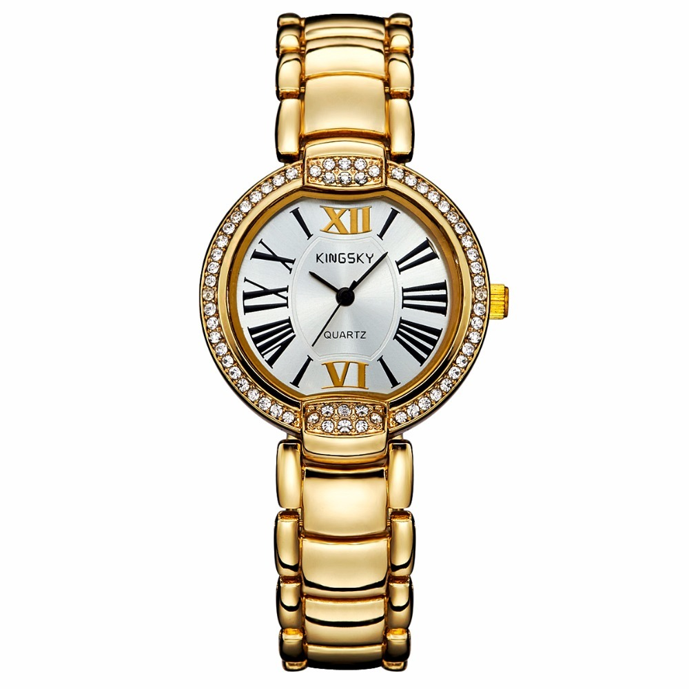 Luxury Women Watches KINGSKY Metal Band Rhinestone Face with Roman Numerals Watch Ladies Fashion Dress Wristwatch 2017 New<br>