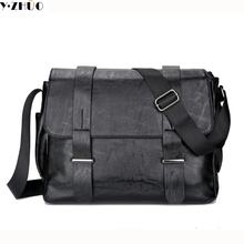 leather men messenger bags vintage black business men shoulder crossbody Laptop bag casual high quality briefcase free shipping