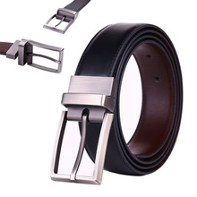 2016 Reversible Men's Dress Belt Leather Reversible Wide Rotated Pin Buckle Belts Designer Fashion Luxury Brand Waistband KB002