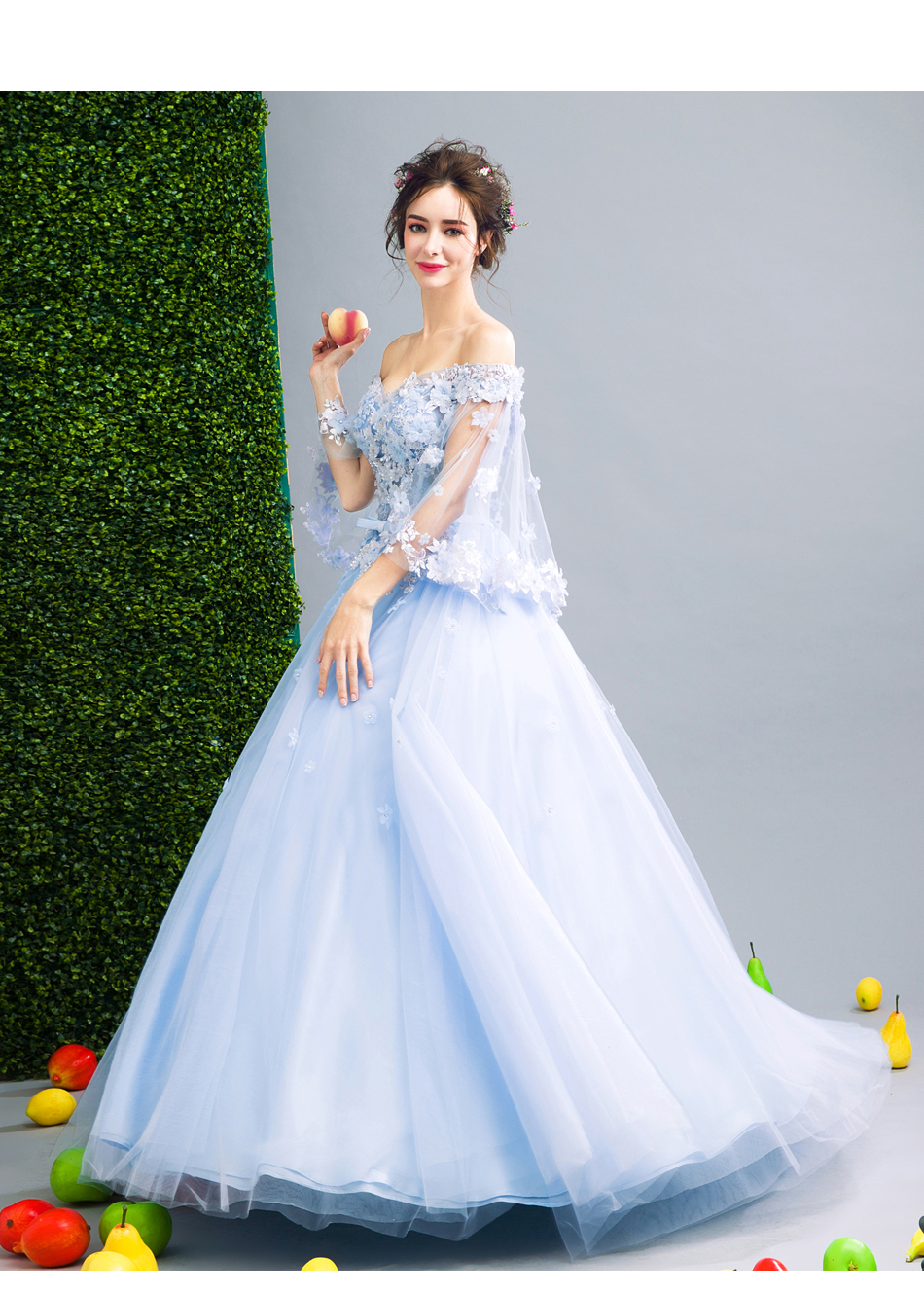 Angel Wedding Dress Marriage Bride Bridal Gown Vestido De Noiva Fairy, blue, handmade petals 2017 257 19