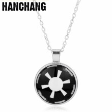 Glass Dome Cabocho Pendant Necklace Collier Women Star Wars Jewellery Galactic Empire Jewelry Chain For Men Accessories Colar(China)