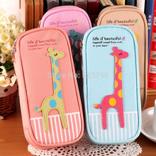 Free shipping Cute cartoon large capacity The giraffe delicate pen bag Pencil case stationery bag/school pencil case for pens(China)