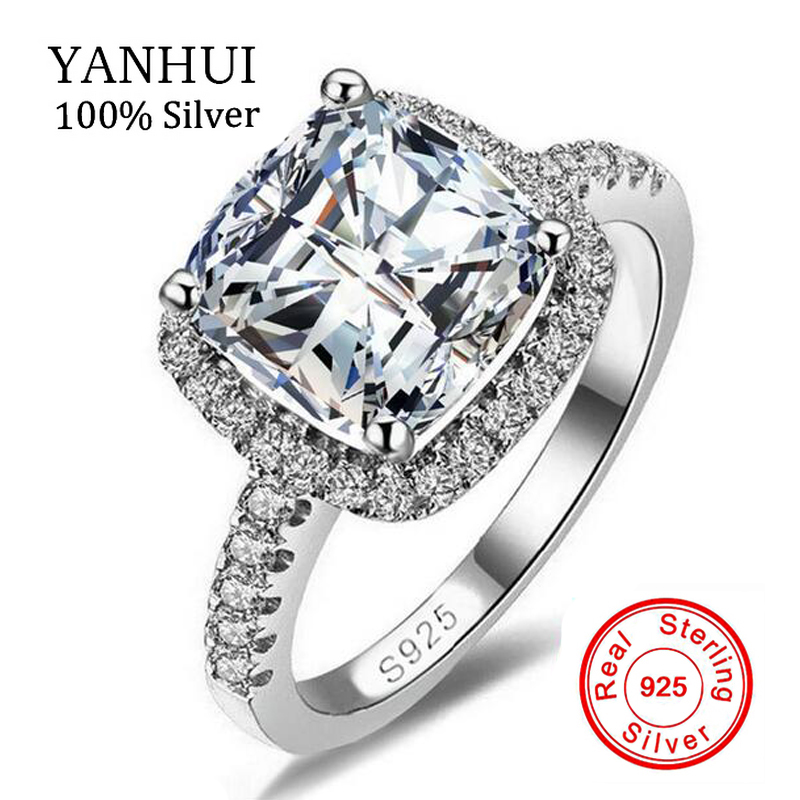 S925 Security Logo 100% Solid 925 Sterling Silver Rings Women 4CT SONA CZ Diamant Engagement Wedding Ring Fine Jewelry