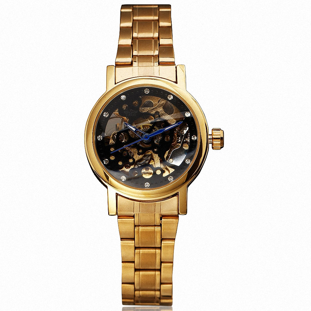 Women Luxury Automatic Mechanical Watches WINNER Top Brand Ladies Crystal Golden Wristwatches Stainless Steel Band Skeleton +BOX<br><br>Aliexpress