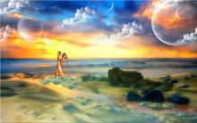 love love angel boy girl man wings hugging sea ocean rocks planets sky clouds birds 4 Sizes Silk Fabric Canvas Poster Print
