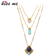 KISS ME Brand Synthetic Stone Necklaces& Pendants Fashion Jewelry Multi Layers Necklaces for Women(China)