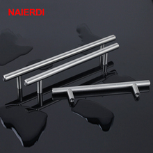 "NAIERDI 4"" ~ 24'' Stainless Steel Handles Diameter 10mm Kitchen Door Cabinet T Bar Straight Handle Pull Knobs Furniture Hardware(China)"