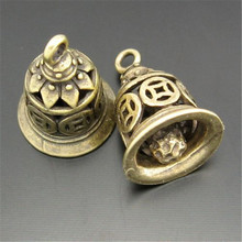 GraceAngie 12PCS Antique Style Bronze Tone Heart Ancient Bell Charm Alloy Plated Suspension Pendants (03753)(China)