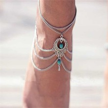 New Arrival Multilayer Sandal Celebrity Ankle Chain Boho Beads Anklets Bracelet Foot Chain Beach Jewelry Girl