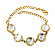 New Summer Style Romantic Round Crystal Bracelet Femme Gold Color Women Wedding Crystal Bracelets Pulseras Jewelry