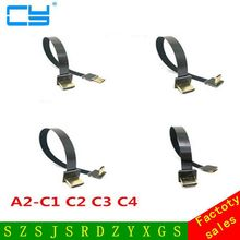 5cm-80cm 90 Degree Up Angled FPV Mini HDMI Male to HDMI Male FPC Flat Cable for Multicopter Aerial Photography(China)