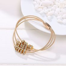 Buy crystal Bracelet Wholesale 2016 New Fashion Jewelry 3 Leather Bracelet Women Bangle Charms Magnetic Clasp Bracelet for $1.33 in AliExpress store