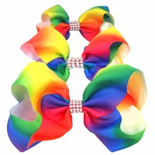 Sparkly Glitter Rhinestones Rainbow Big Huge Large Hair Bows Alligator Hair Clips for Girls Toddlers Women(China)