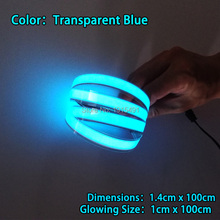 2017 New 8 Colors 1.4X100CM Not Include drives,Glowing EL Tape EL wire LED Strip,for house,dispaly,holiday,Garden,Car Moulding(China)