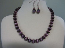 """Purple Passion"" Cat Eye Necklace and Earrings(China)"