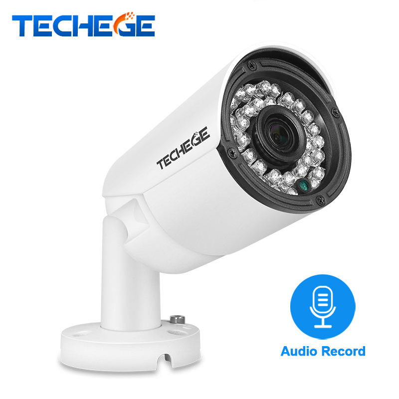 Techege 2.0MP Audio POE IP Camera Night Vision Waterproof IP66 ONVIF Motion Detection Xmeye IP Cam DC 12V 48V PoE Optional<br>