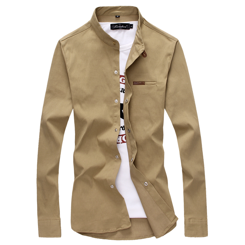 toturn brand Casual Men Shirt Long Sleeves Slim Fit shirt Male 100% Cotton Khaki Vintage plus size 4XL 5XL Solid shirt men