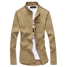 toturn brand Casual Men Shirt Long Sleeves Slim Fit shirt Male 100% Cotton Khaki Vintage plus size 4XL 5XL Solid shirt men(China)