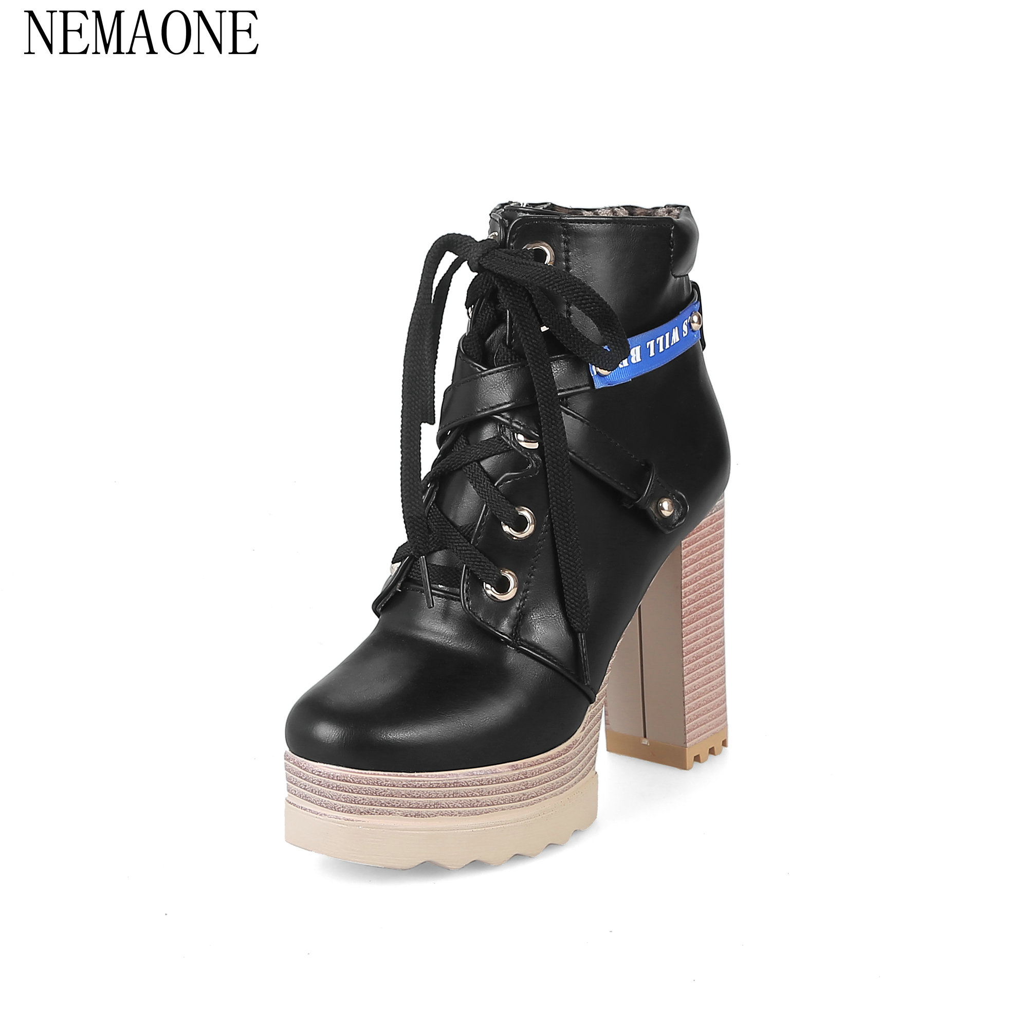 NEMAONE Women Thick Heel Ankle Boots High Heels Shoes 2018 Autumn British Round Toe Fashion Ankle Boots Heels Platform<br>