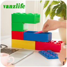 Vanzlife creative building blocks superimposed on the desktop storage boxes, women cosmetics boxes, office stationery box