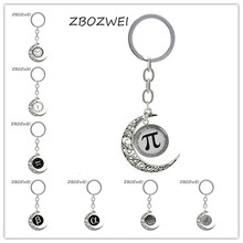 ZBOZWEI Vintage Math symbol Pi moon pendant keychain Mathematical Pion Greek letter art school students teachers key chain ring(China)