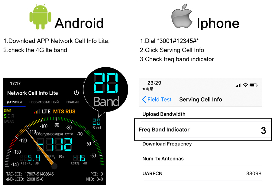 check lte band