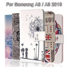 Fashion Painting Cross Lines Flip Wallet Case for Samsung Galaxy A3 2016 Cover Samsung Galaxy A3 Case for Samsung A3 Phone Coque(China)